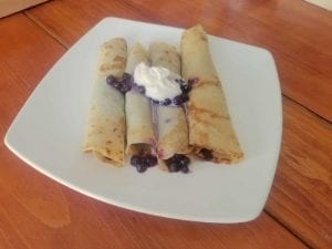 Crepes with Blueberry Compote