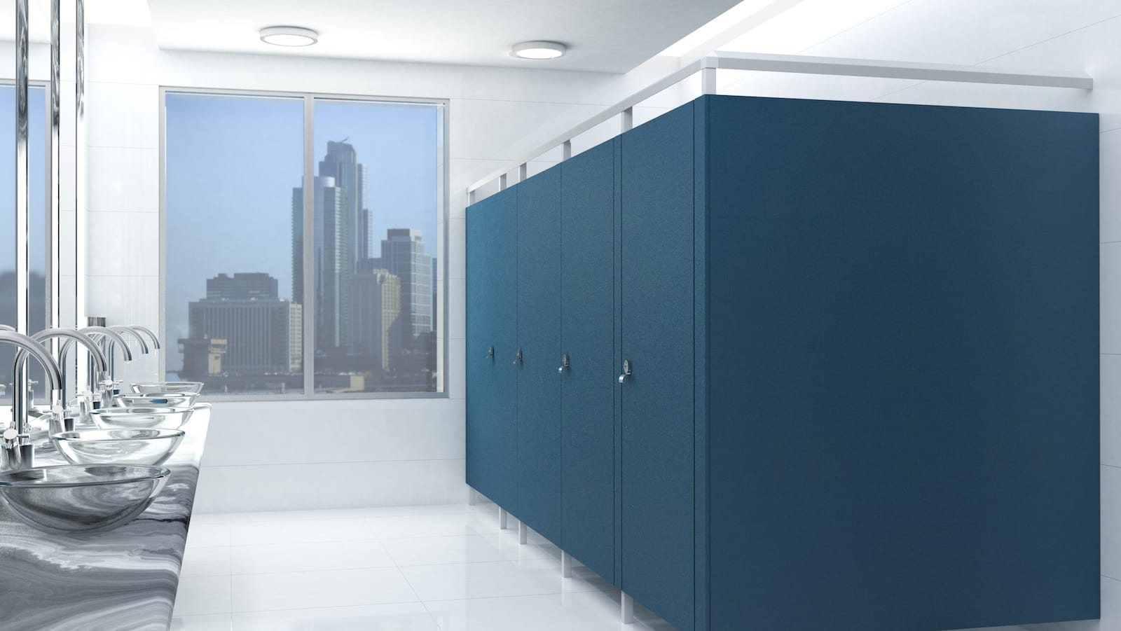 French Blue Eclipse Toilet Partitions