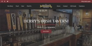 Screenshot of the Halligan Tavern Homepage